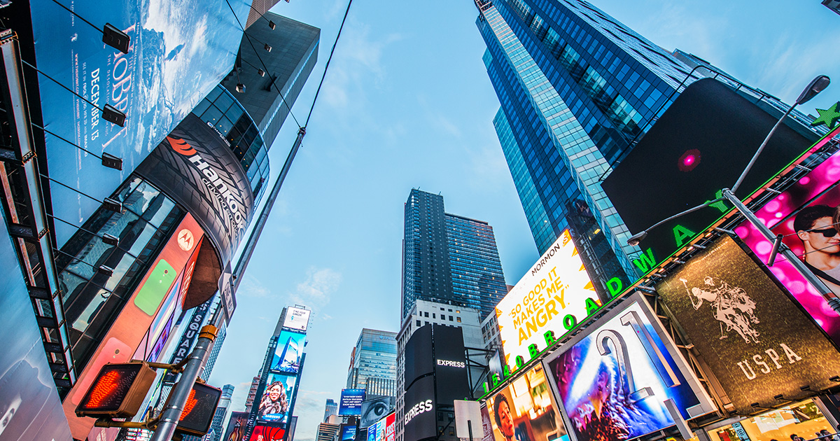 Destination New York. Bild tagen i Times Square i Manhattan.